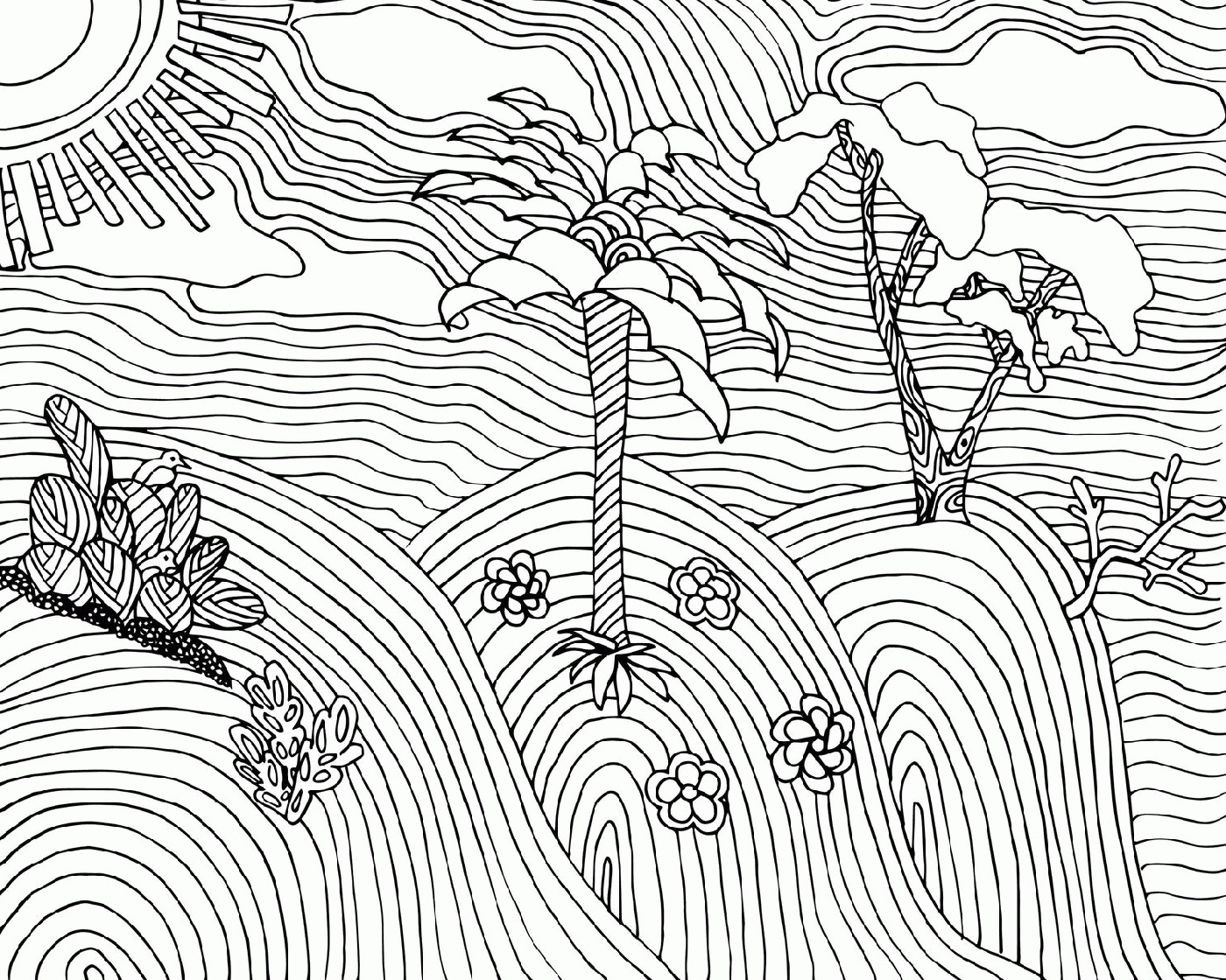 Adult Coloring Book Pages Landscape