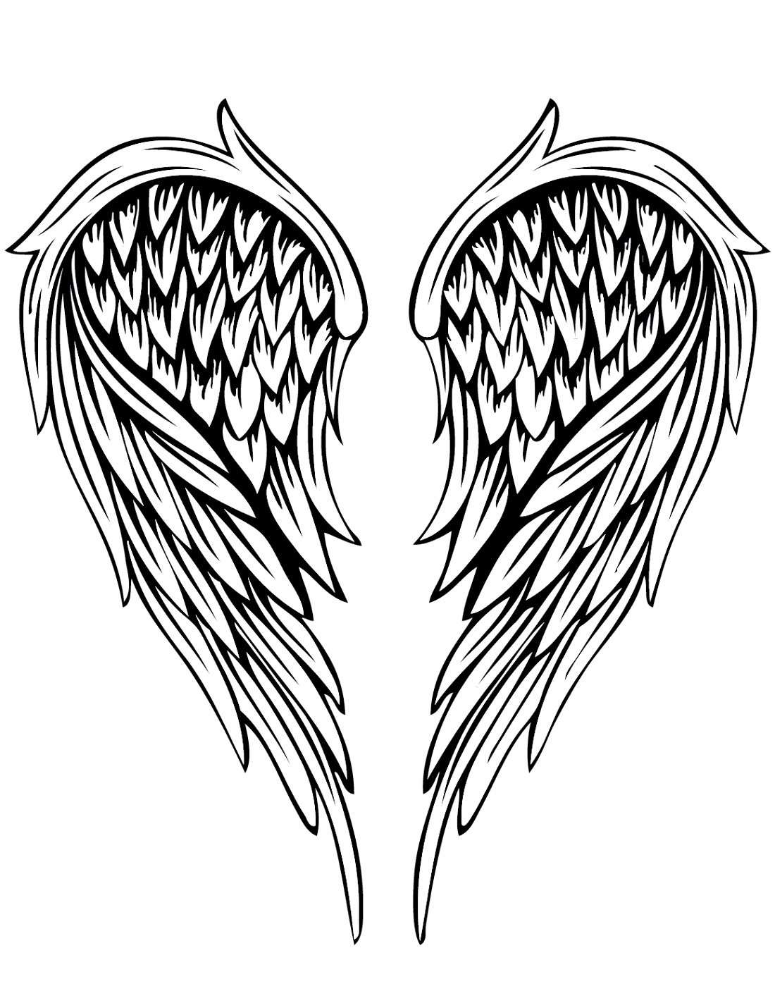 Angel Wings Coloring Pages Tatoo
