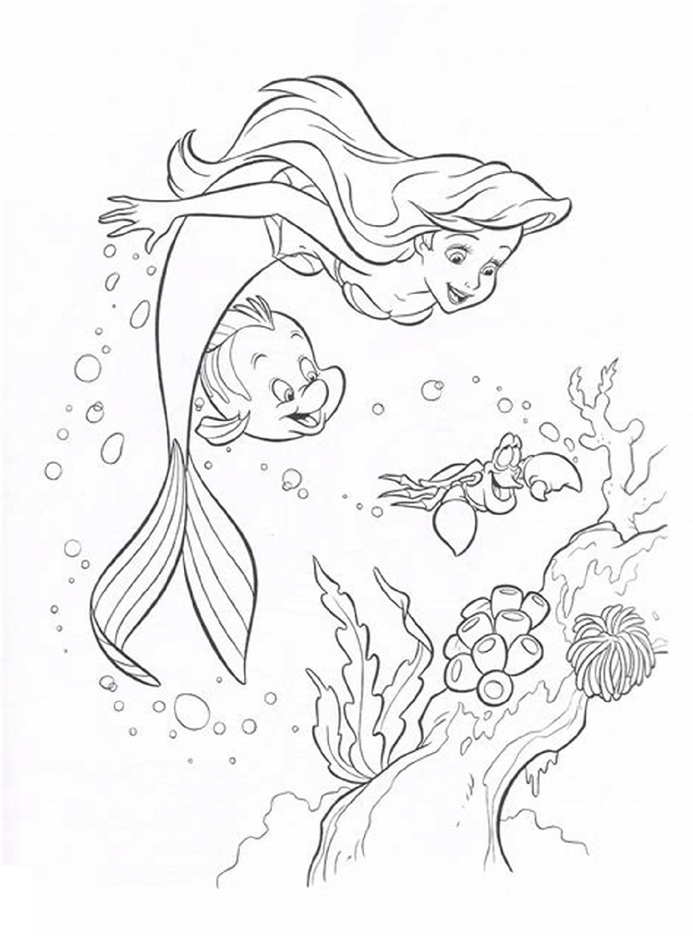 Ariel Mermaid Coloring Pages To Print