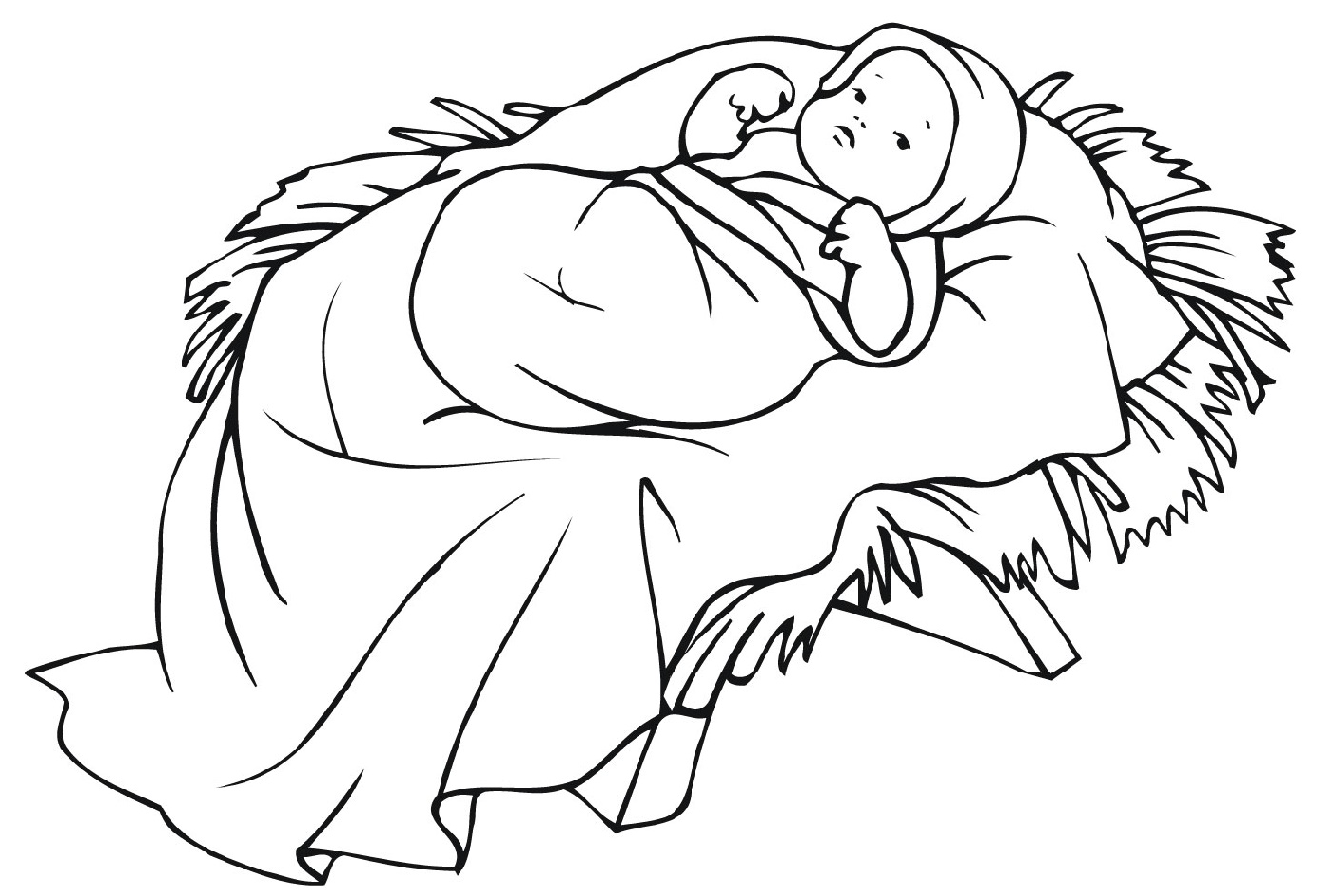 Baby Coloring Pages Jesus