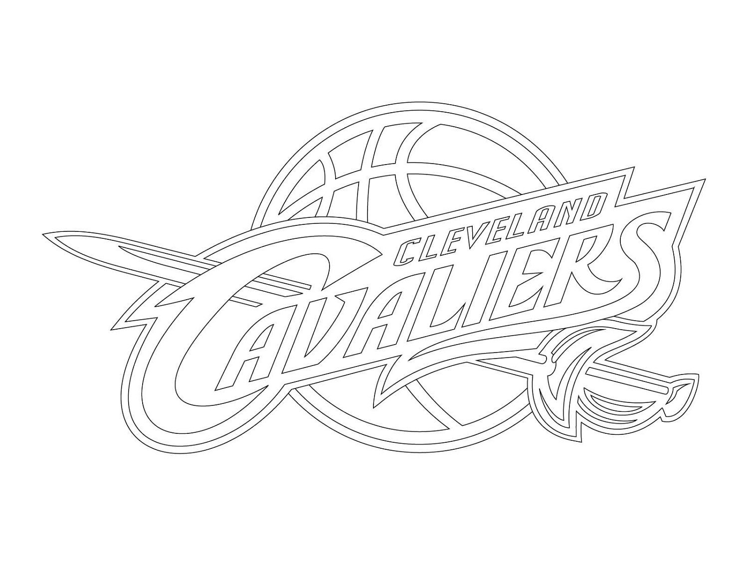 Cavs Coloring Pages Cleveland Cavaliers