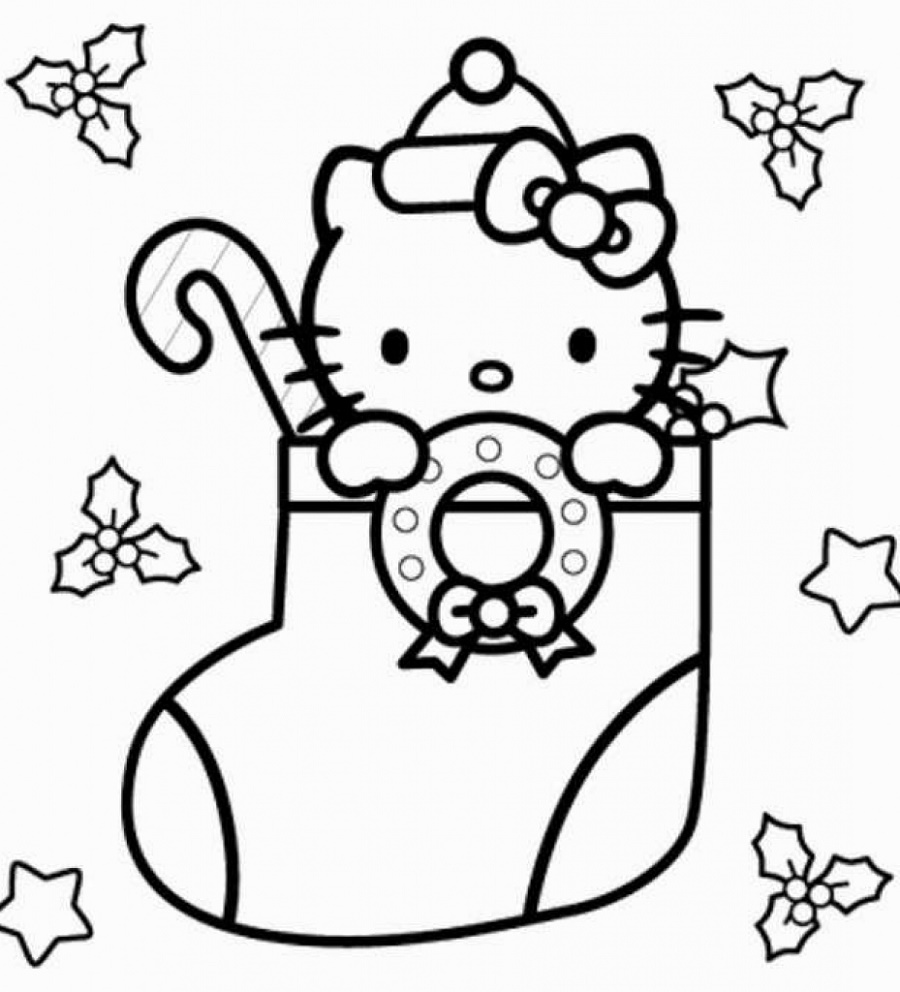 Christmas-Coloring-Pages-For-Kids-Hello-Kitty