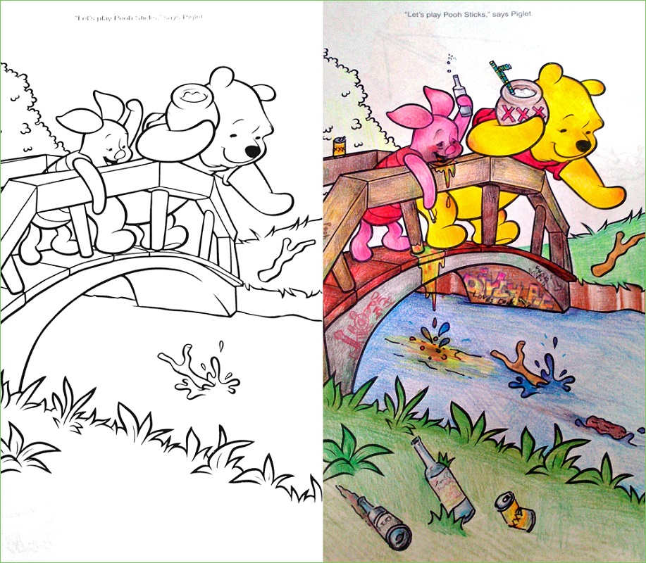 Coloring Book Corruptions Pooh