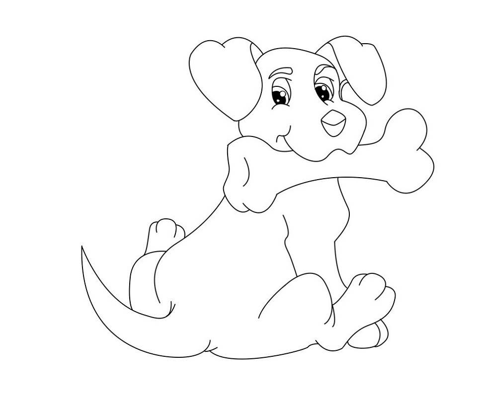 Dog Bone Coloring Page To Print