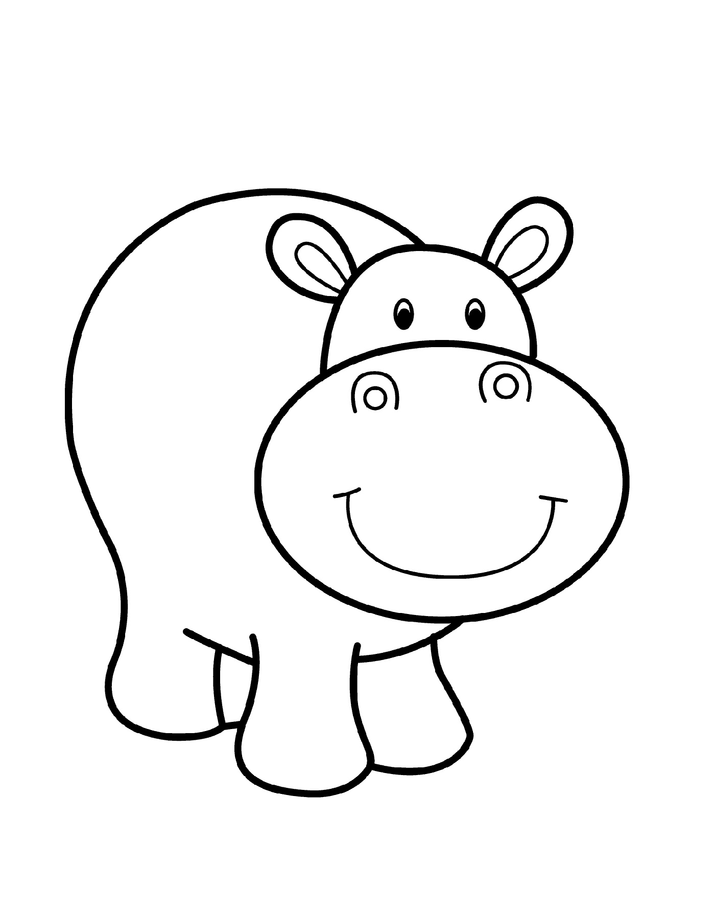 Easy Coloring Pages Hippo