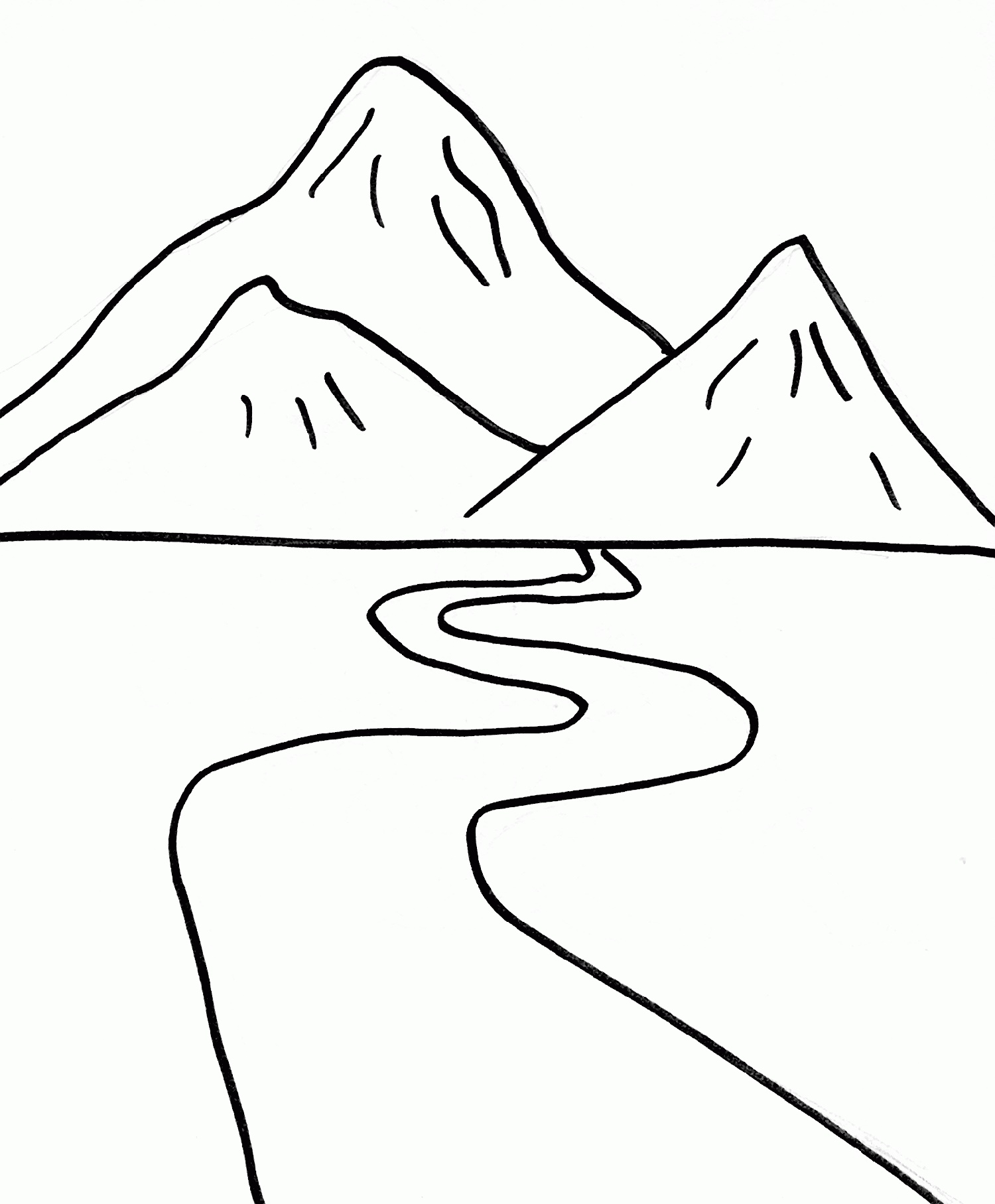 Easy Coloring Pages Mountains