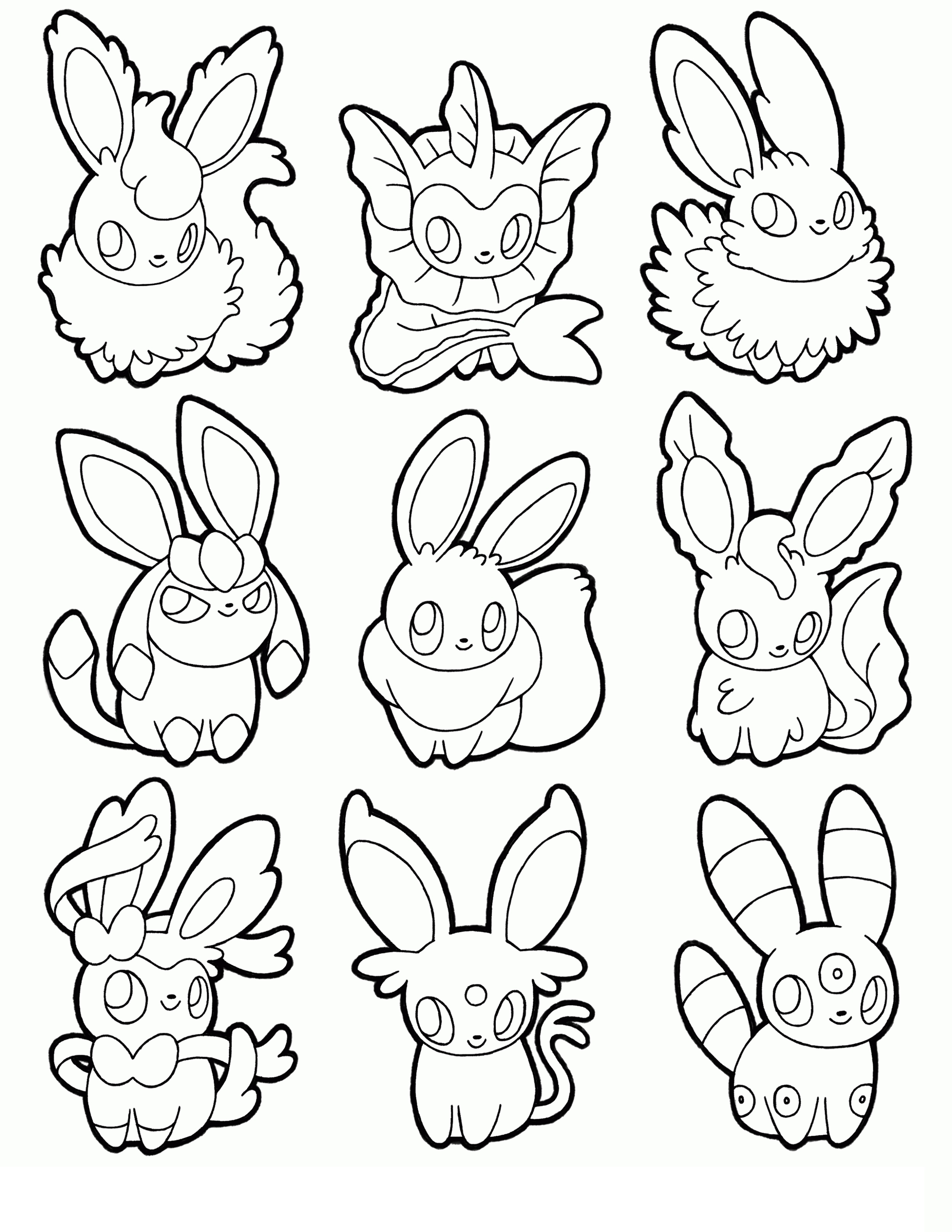Eevee Eeveelutions Coloring Pages