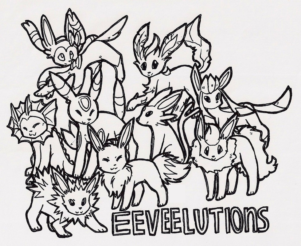 Eeveelutions Coloring Pages Printable