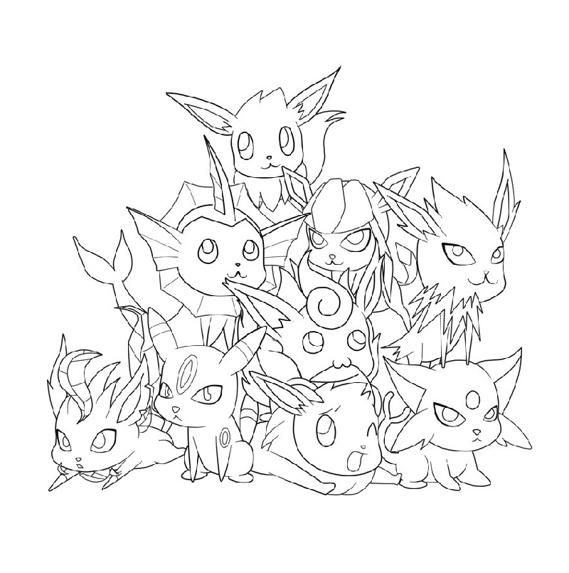 Eeveelutions Coloring Pages To Print