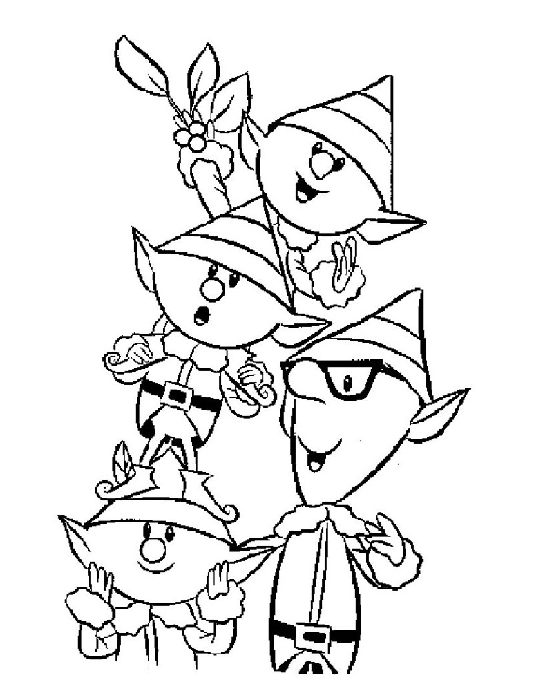Elf Coloring Pages Christmas