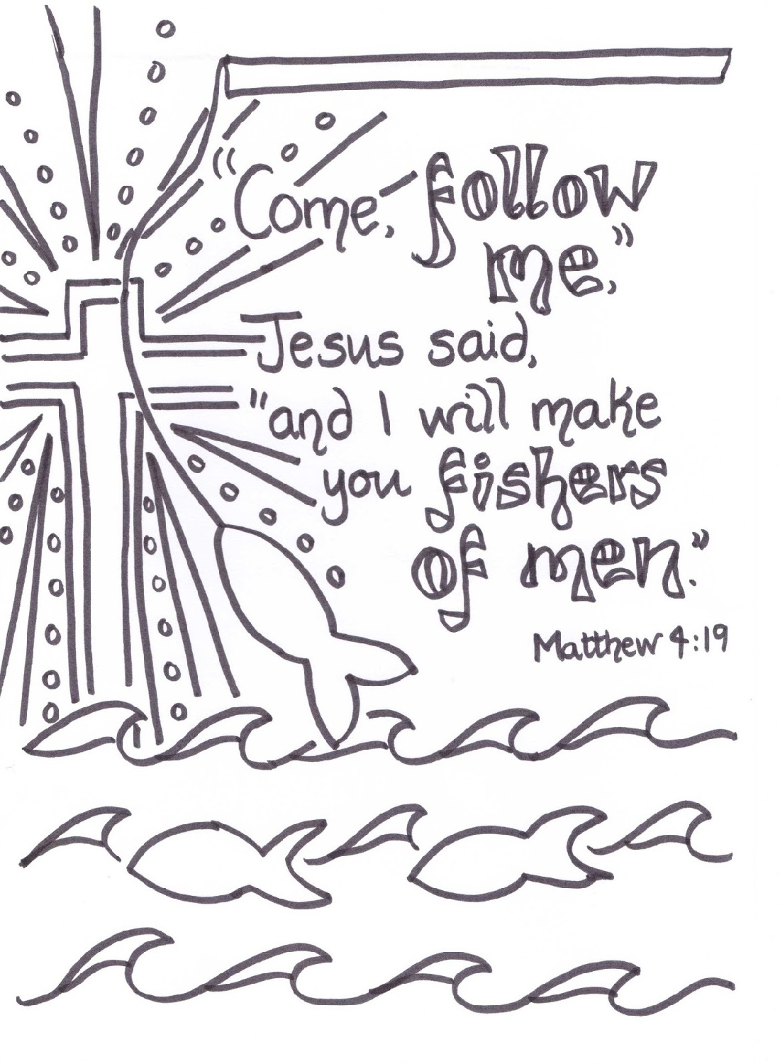 Fishers Of Men Coloring Page To Colour