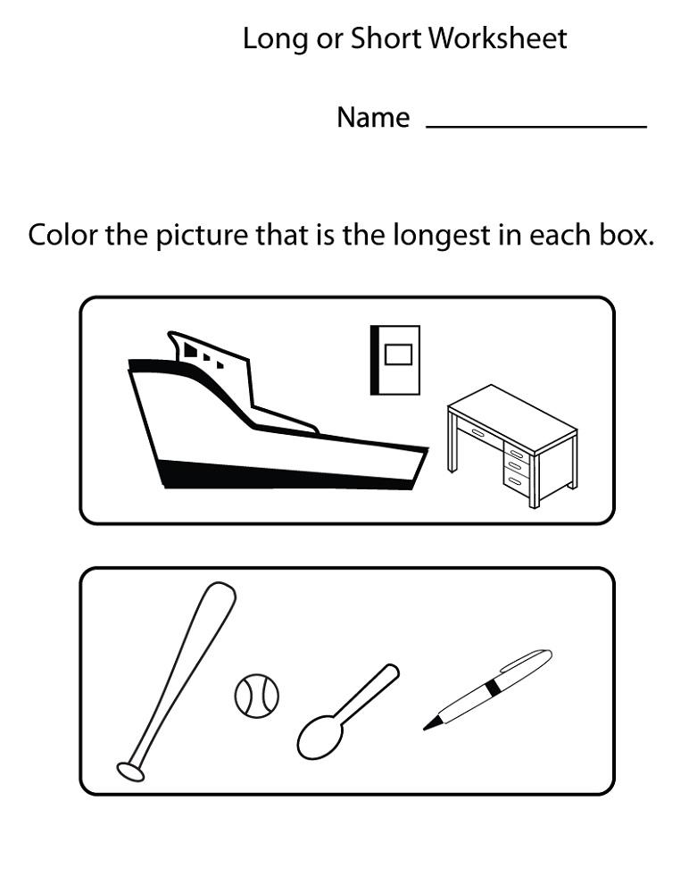 Free Printable Toddler Worksheets Long or Short