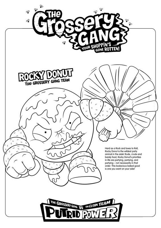Grossery Gang Coloring Pages Rocky Donut