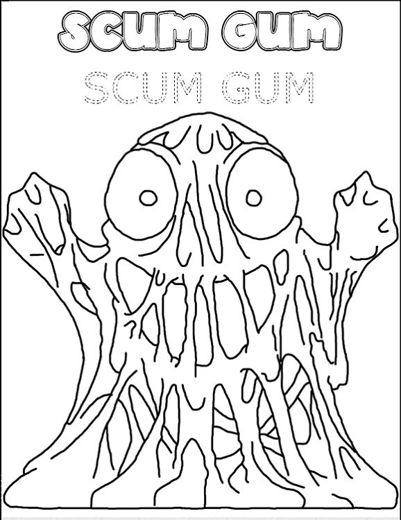 Grossery Gang Coloring Pages Scum Gum