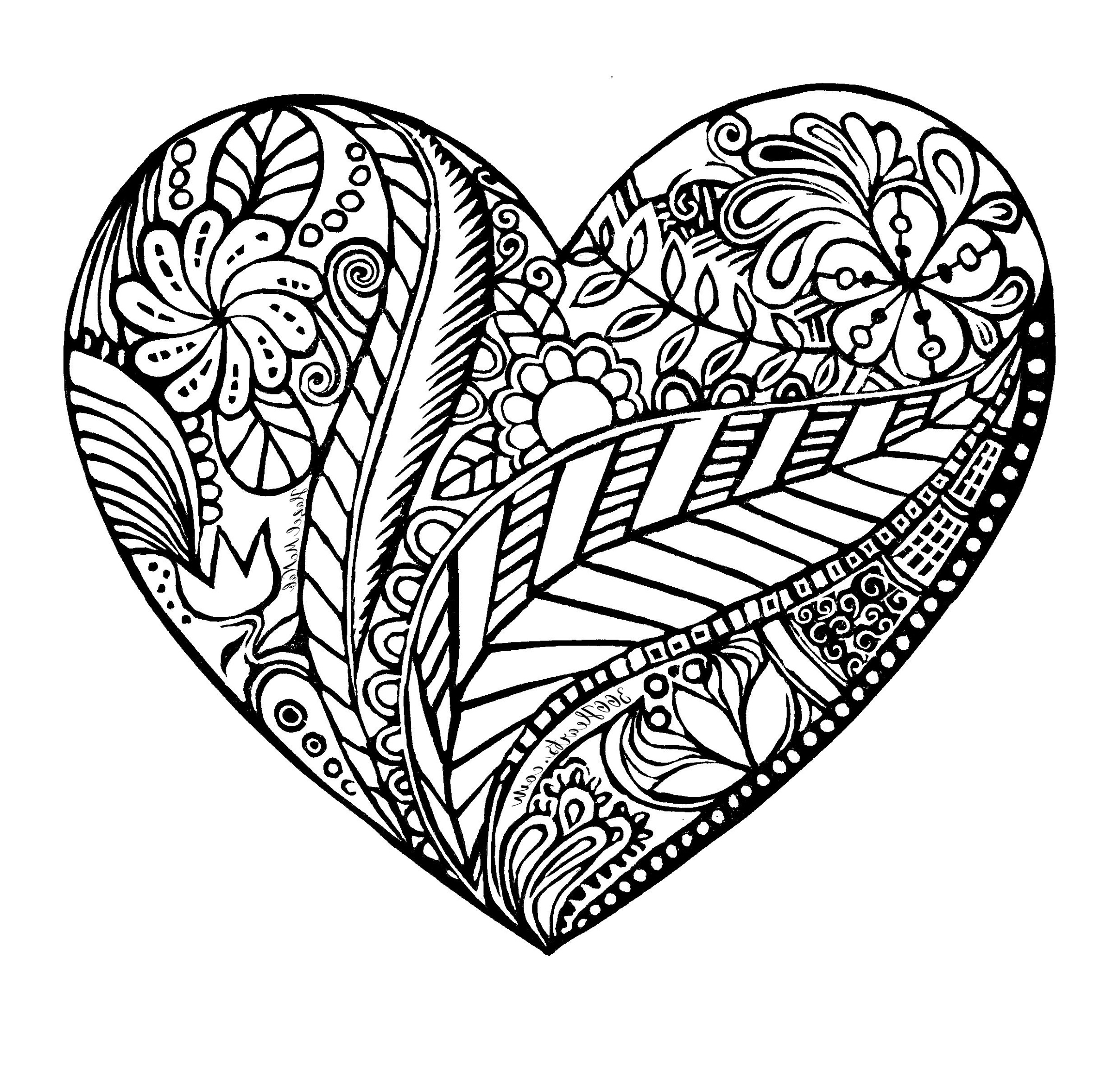 Heart Coloring Pattern