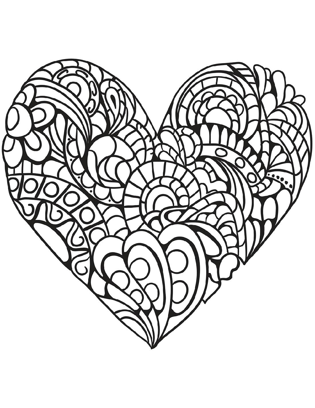 Heart Coloring Zentangle
