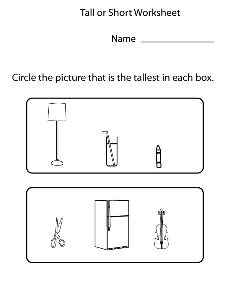Homework For Toddlers Printables Tall or Short
