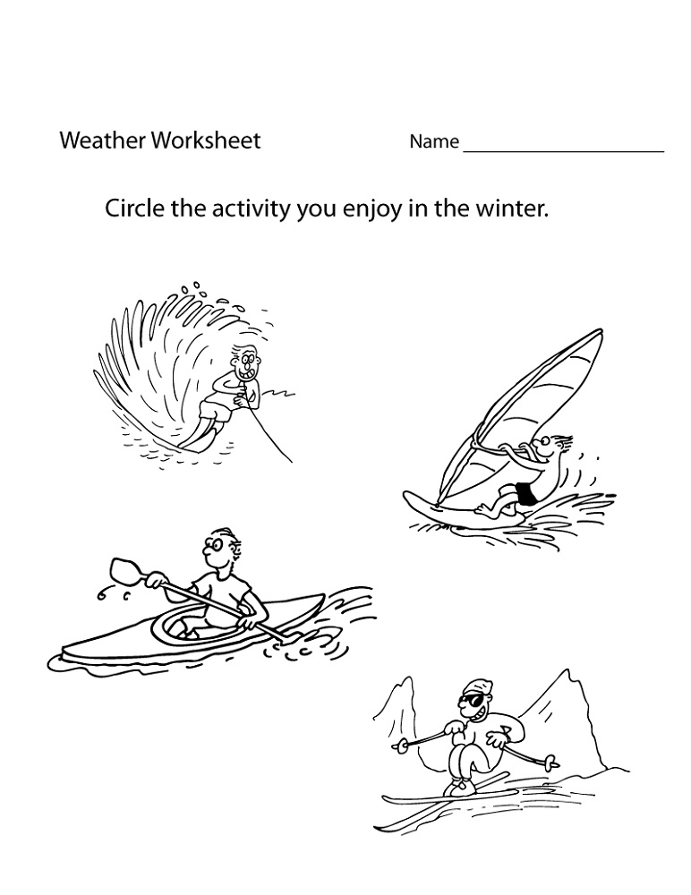 Kindergarten Activity Sheets Weather