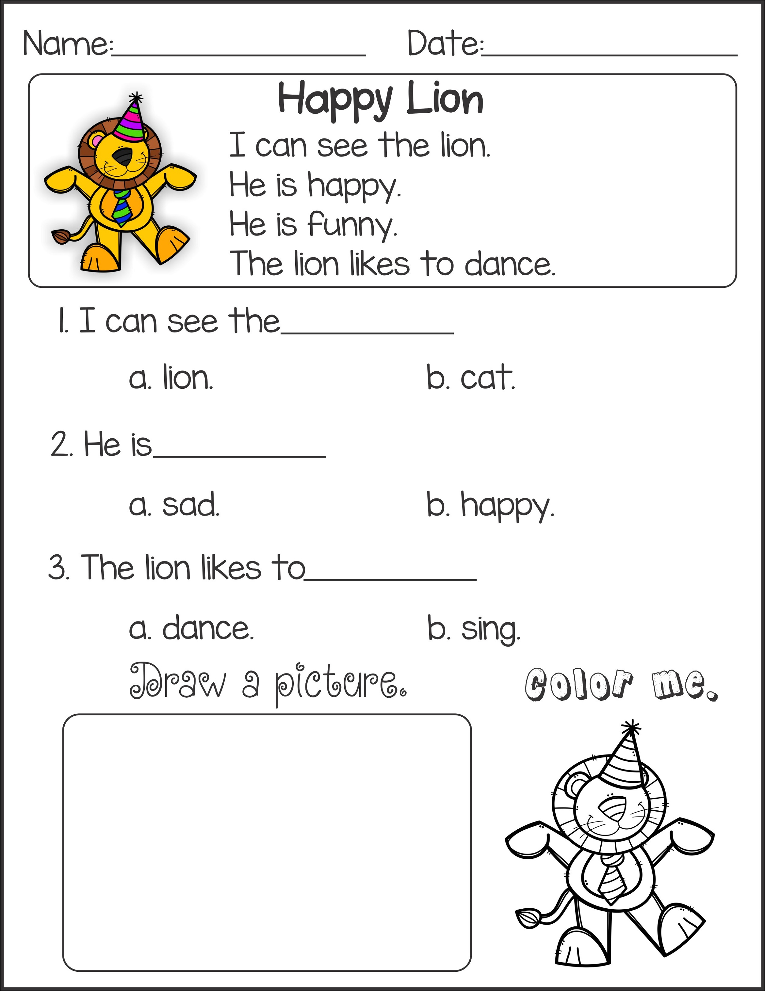Literacy Worksheets Reading For Kindergarten