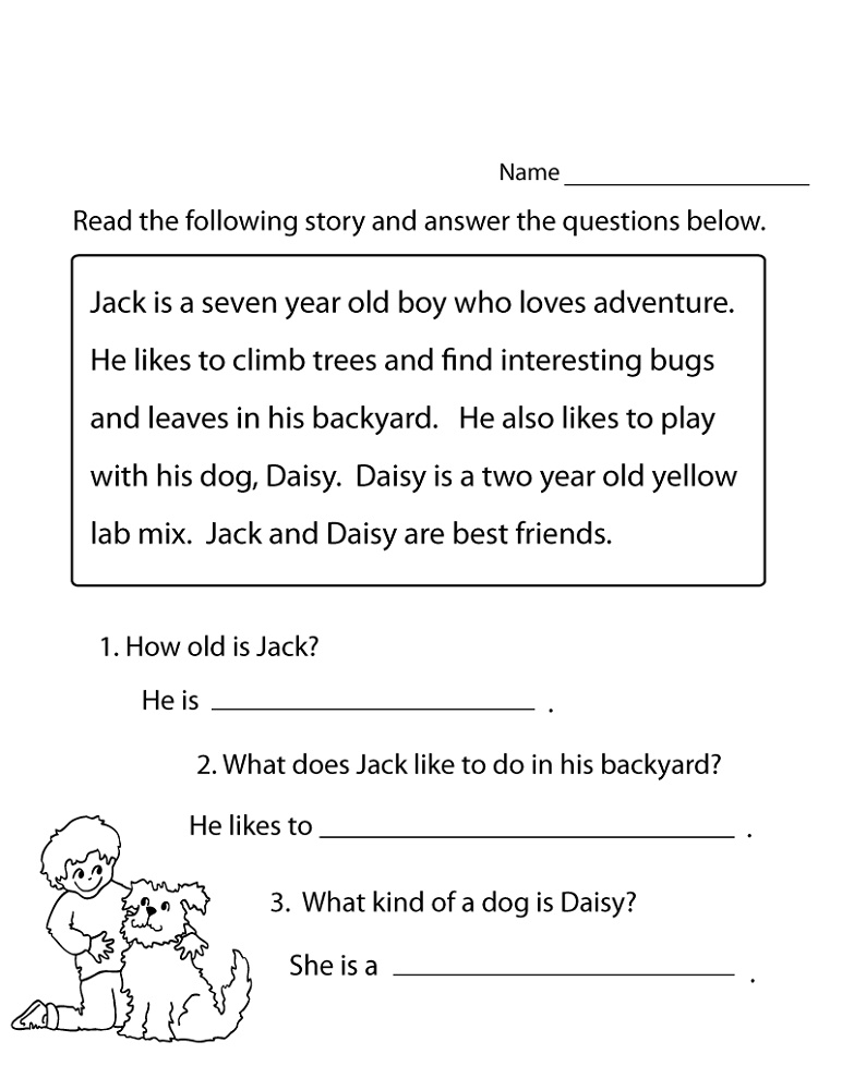 Literacy Worksheets Reading Practice