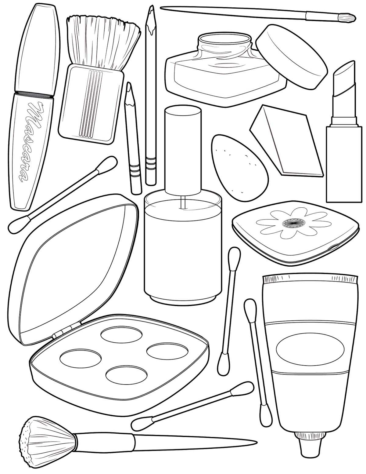 Makeup Tools Coloring Pages Face K5 Worksheets