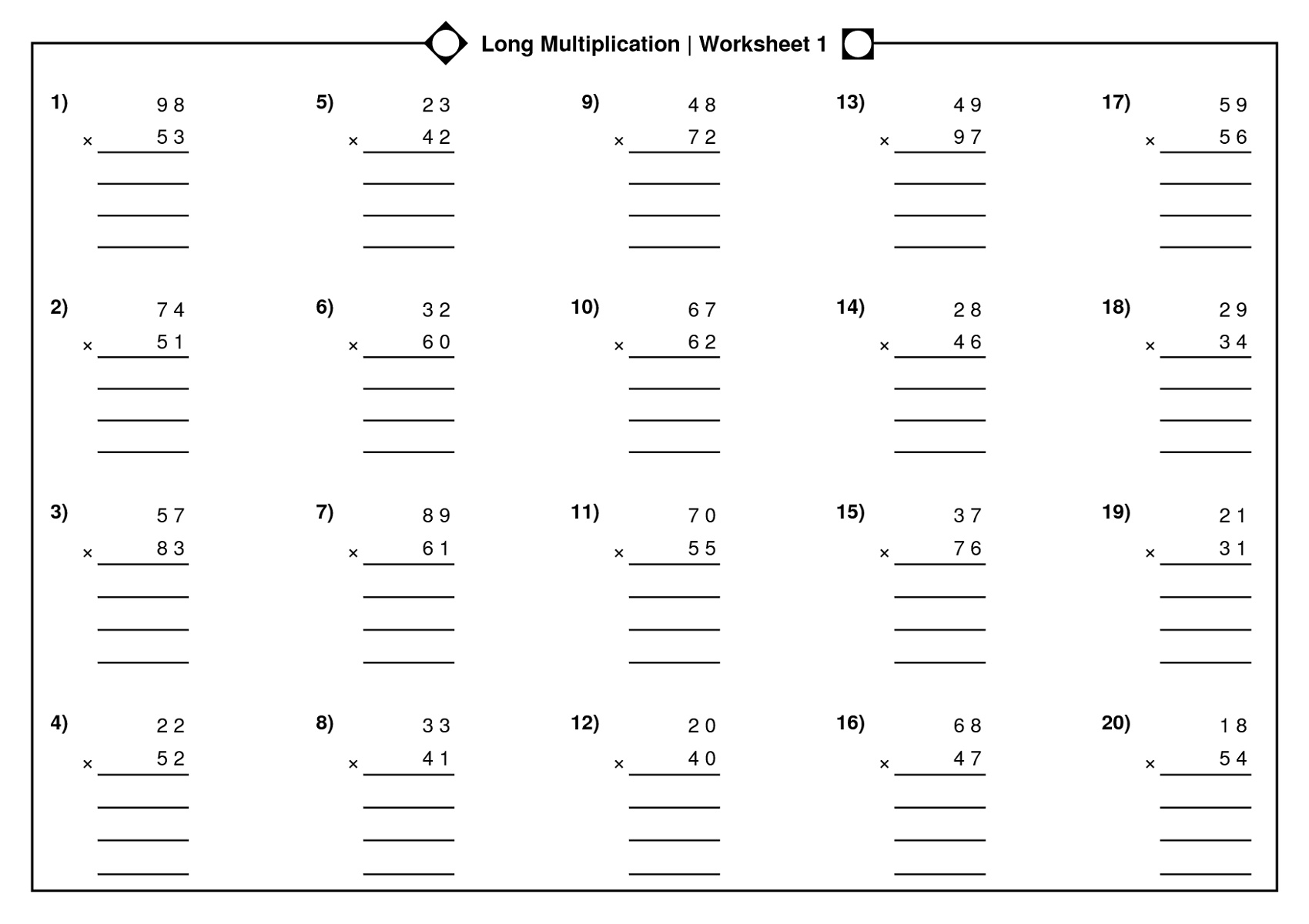Math Multiplication Worksheets Long Multiplication