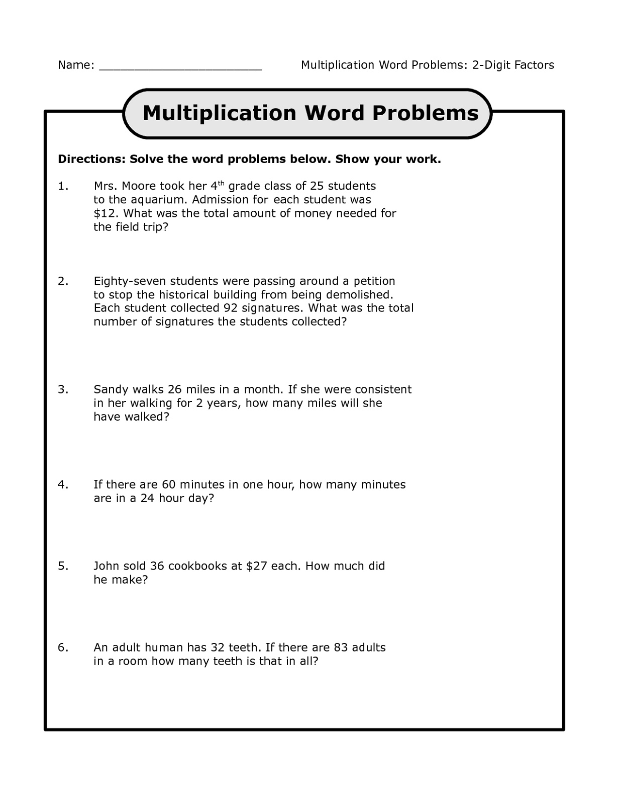 Math Multiplication Worksheets Word Problems