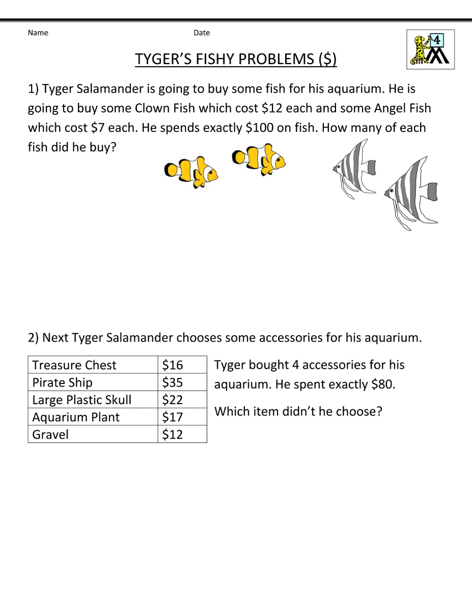 Math Problems Worksheets 4th Grade