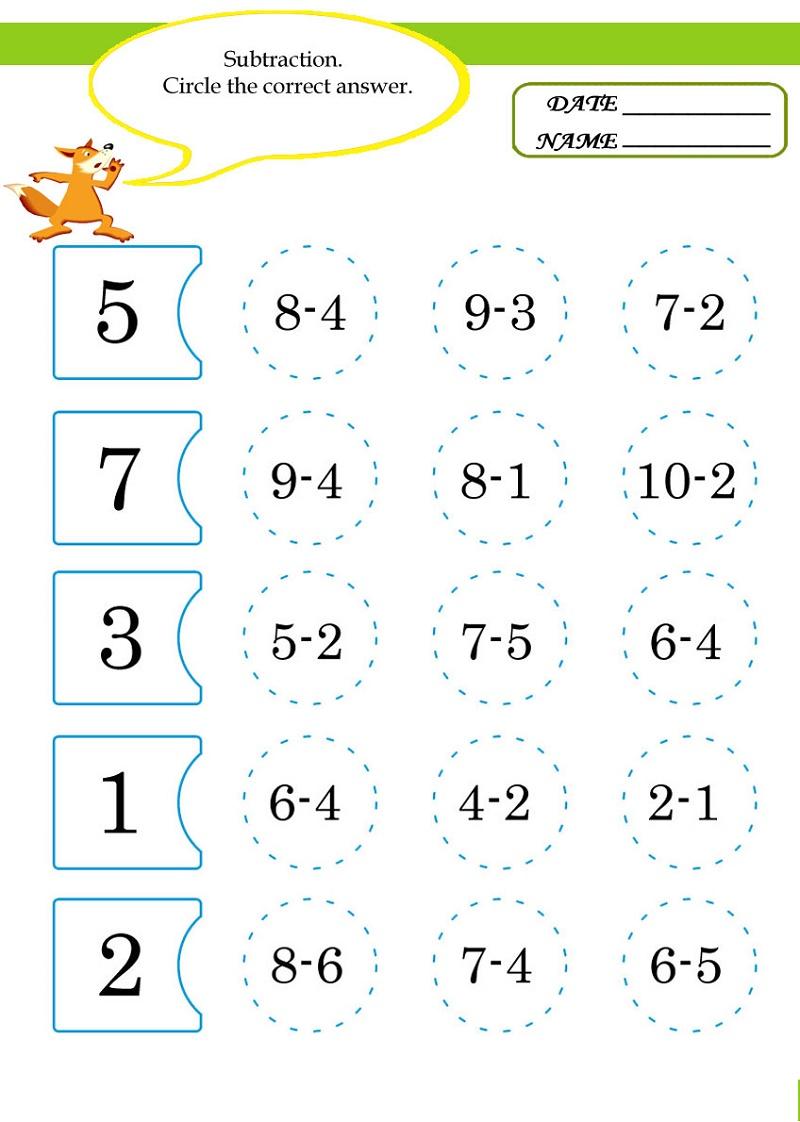 Math Worksheets For Kids Subtraction