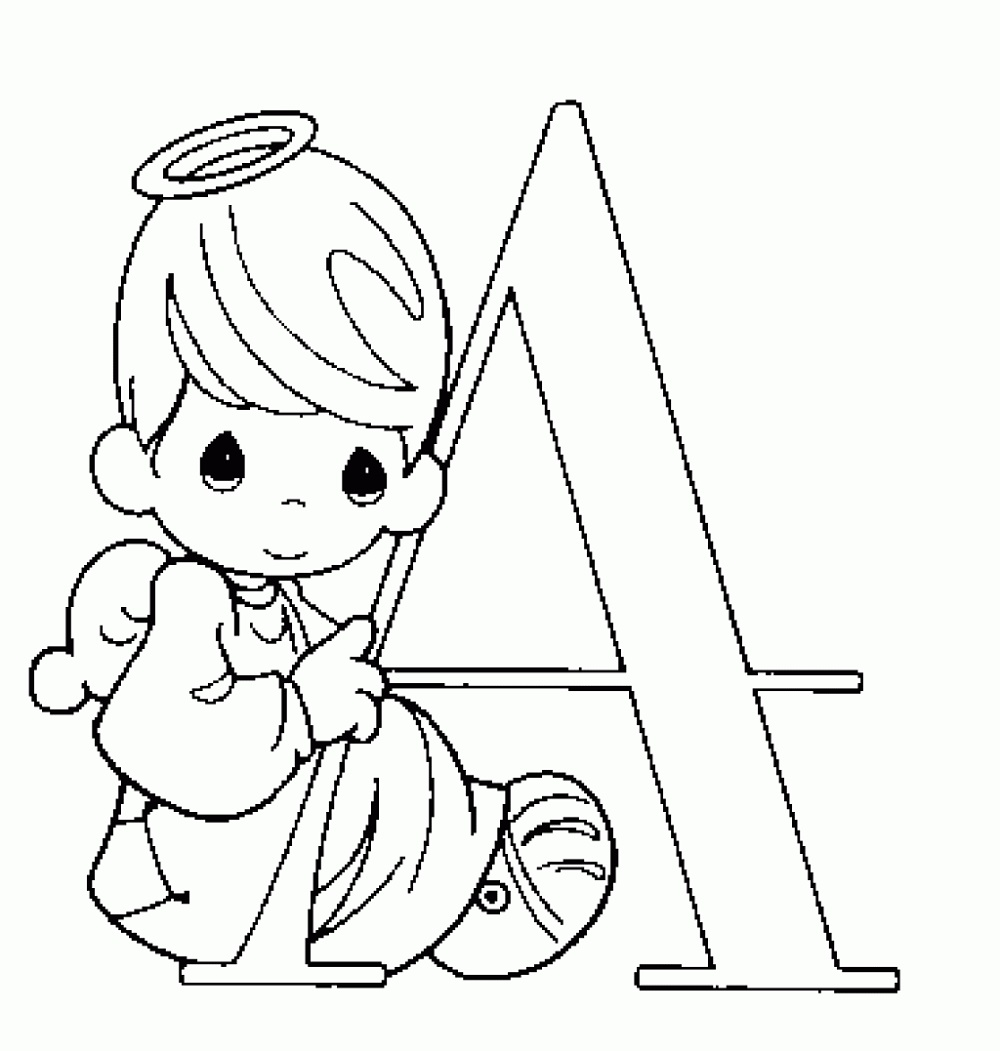 Precious Moments Coloring Pages Alphabet