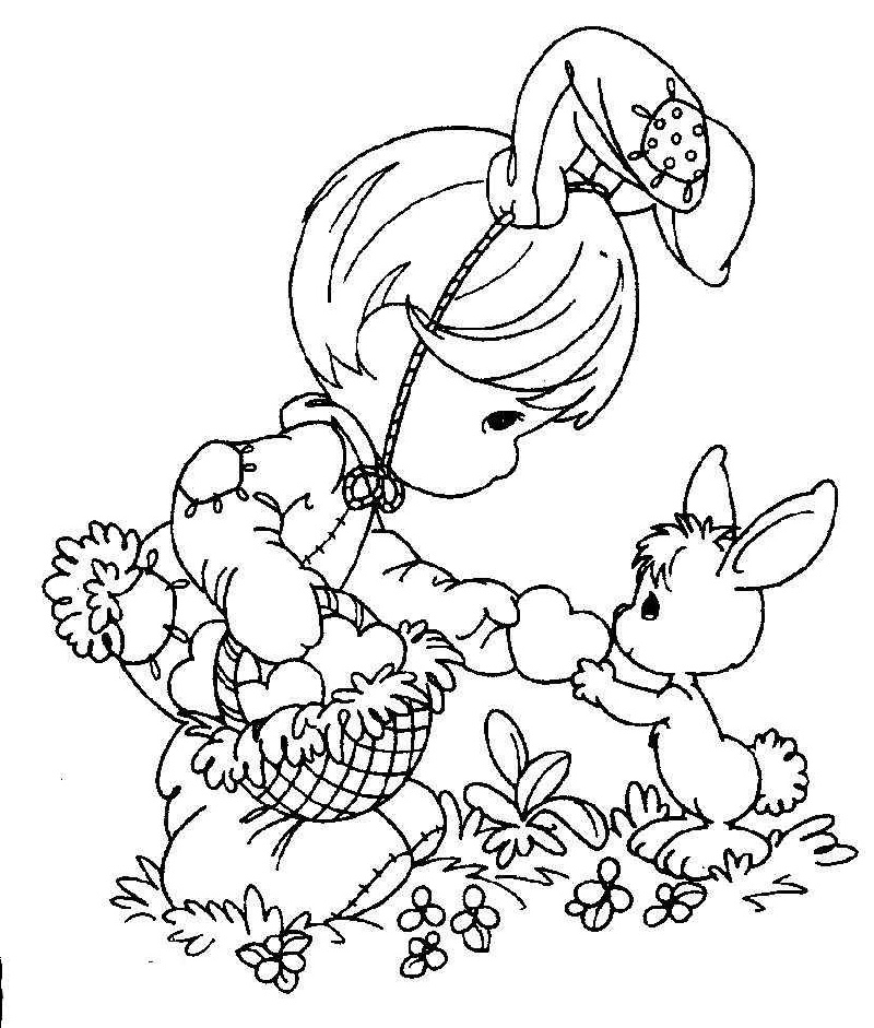Precious Moments Coloring Pages Easter