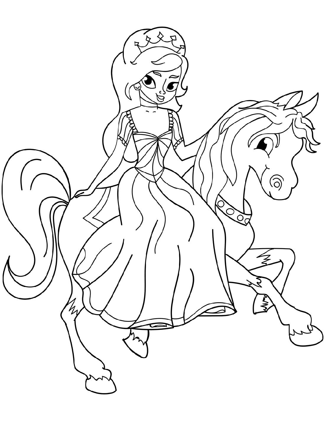 Princess Coloring Riding Horse