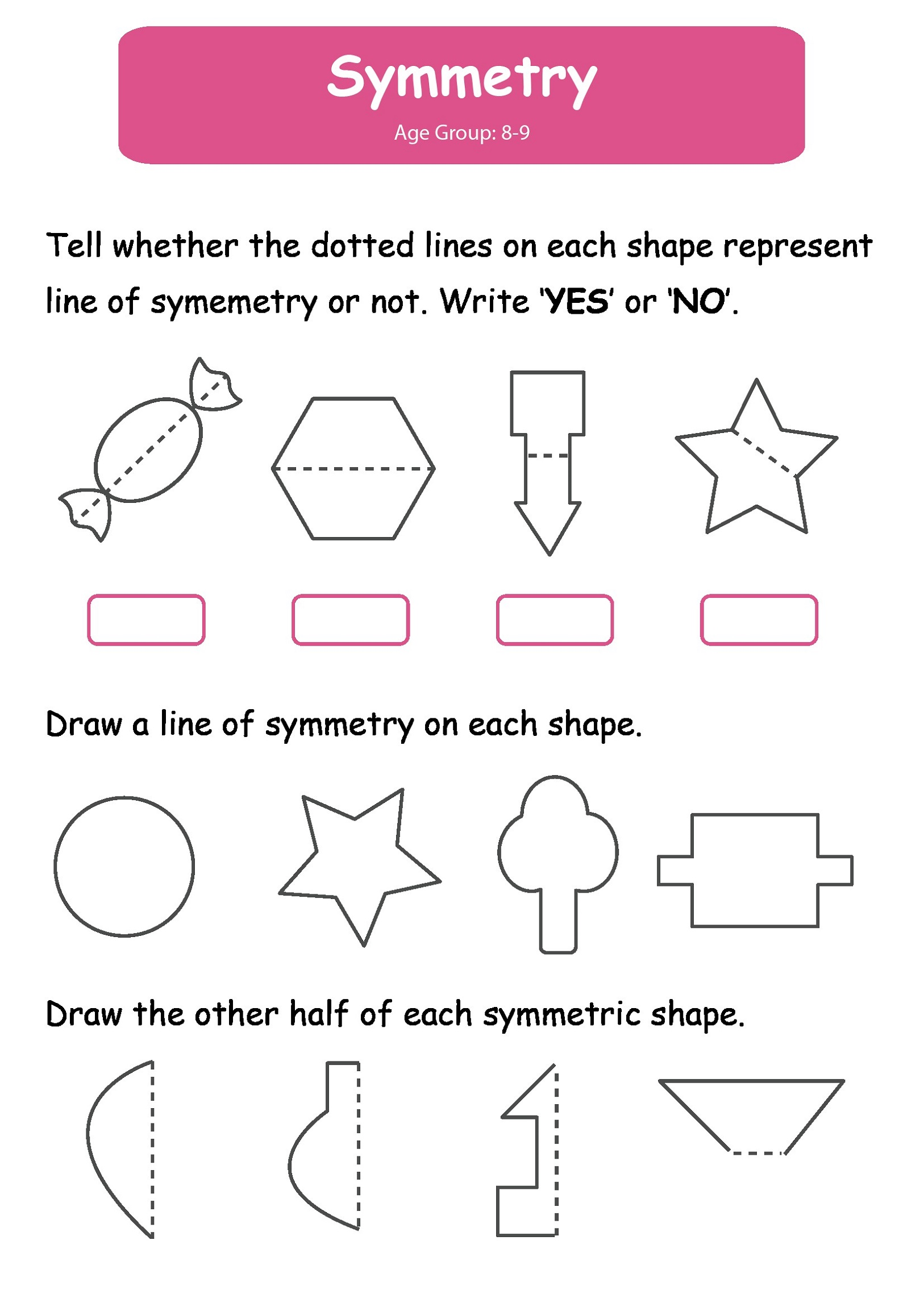 Printable Activities For 6 Year Olds Symmetry
