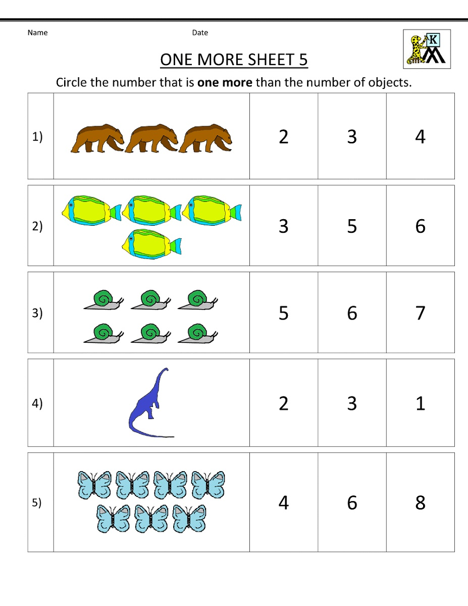 Printable Math Worksheets For Kindergarten