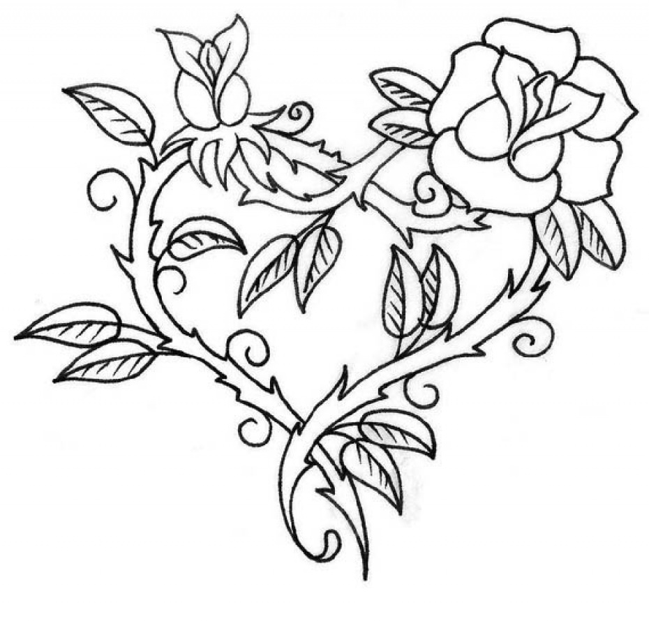Rose-Coloring-Pages-Cool