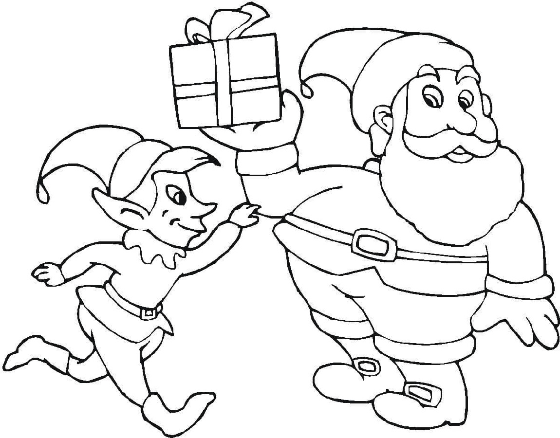 Santa And Elf Coloring Pages