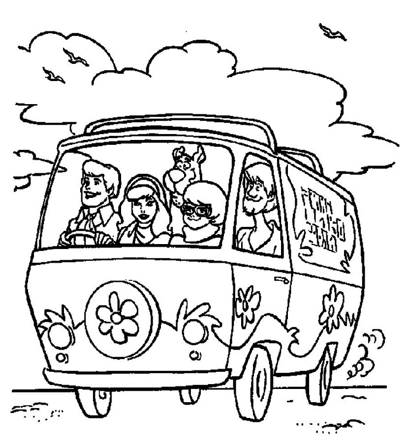 Scooby Doo Coloring Pages Van
