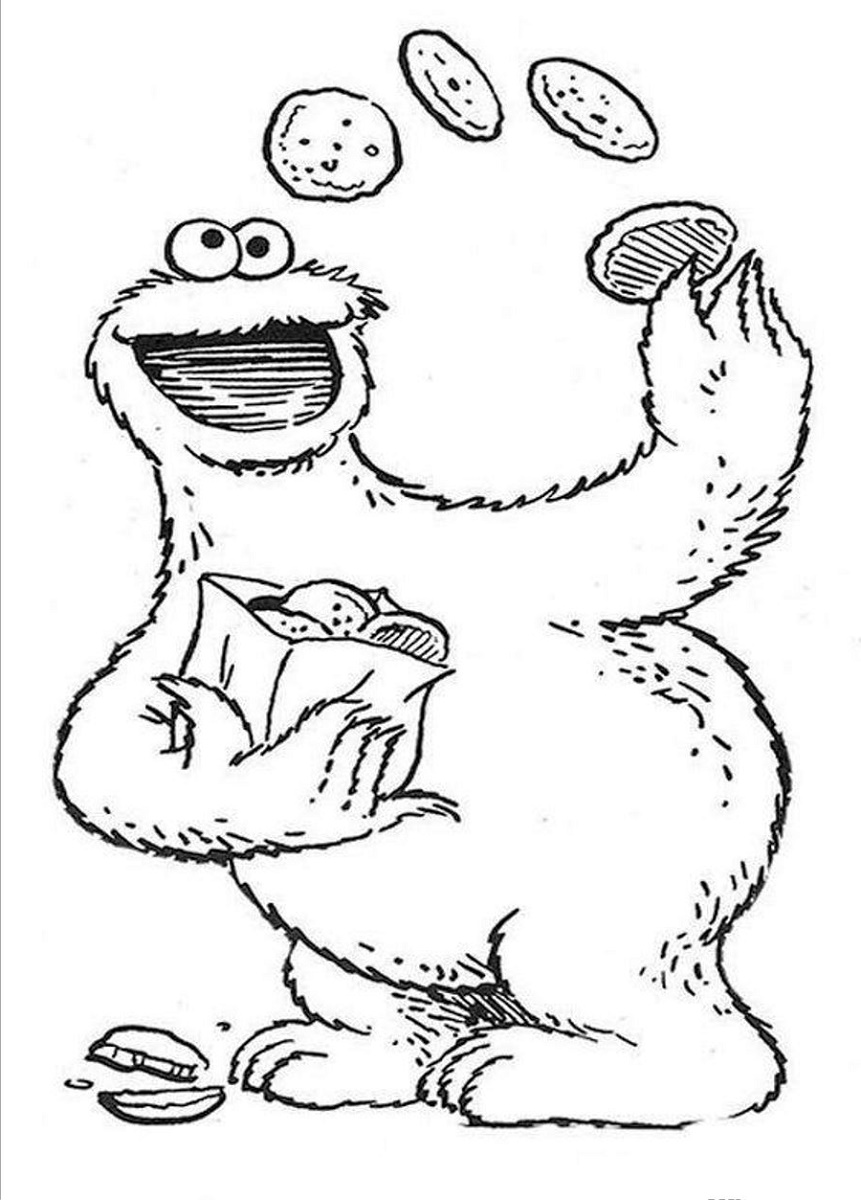 Sesame Street Coloring Pages Cookie Monster