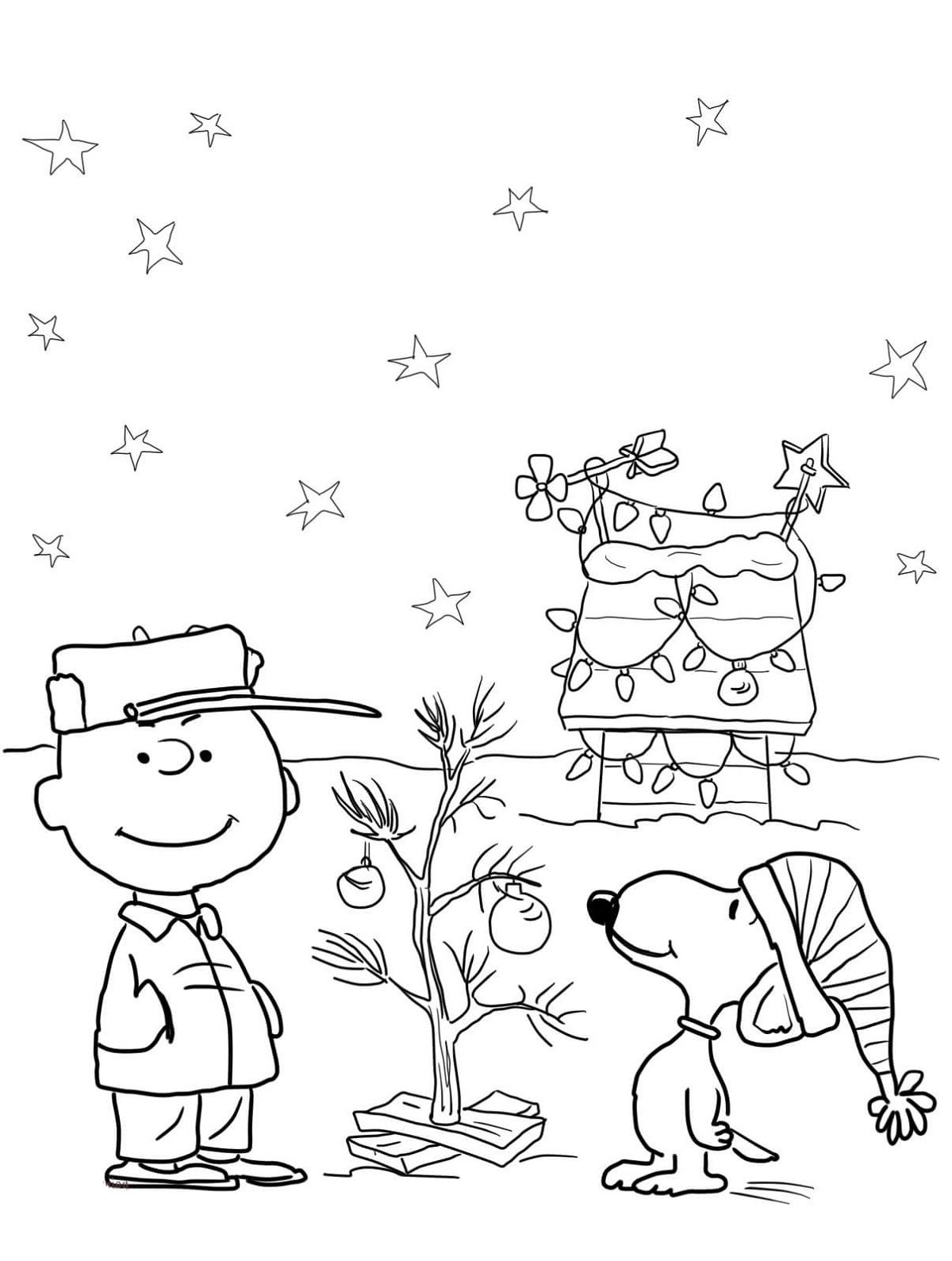 Snoopy Christmas Coloring Pages Charlie Brown
