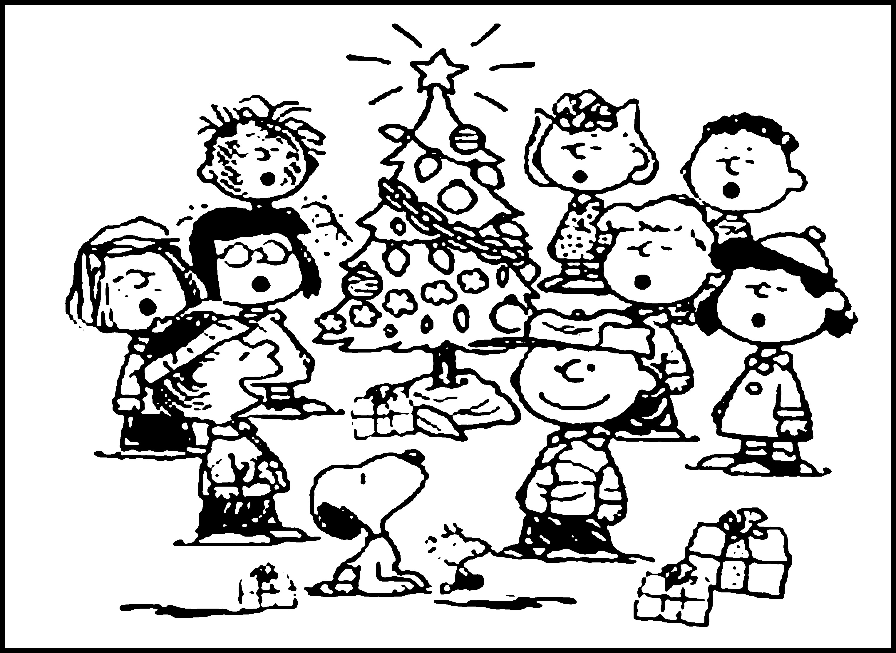Snoopy Christmas Coloring Pages Free