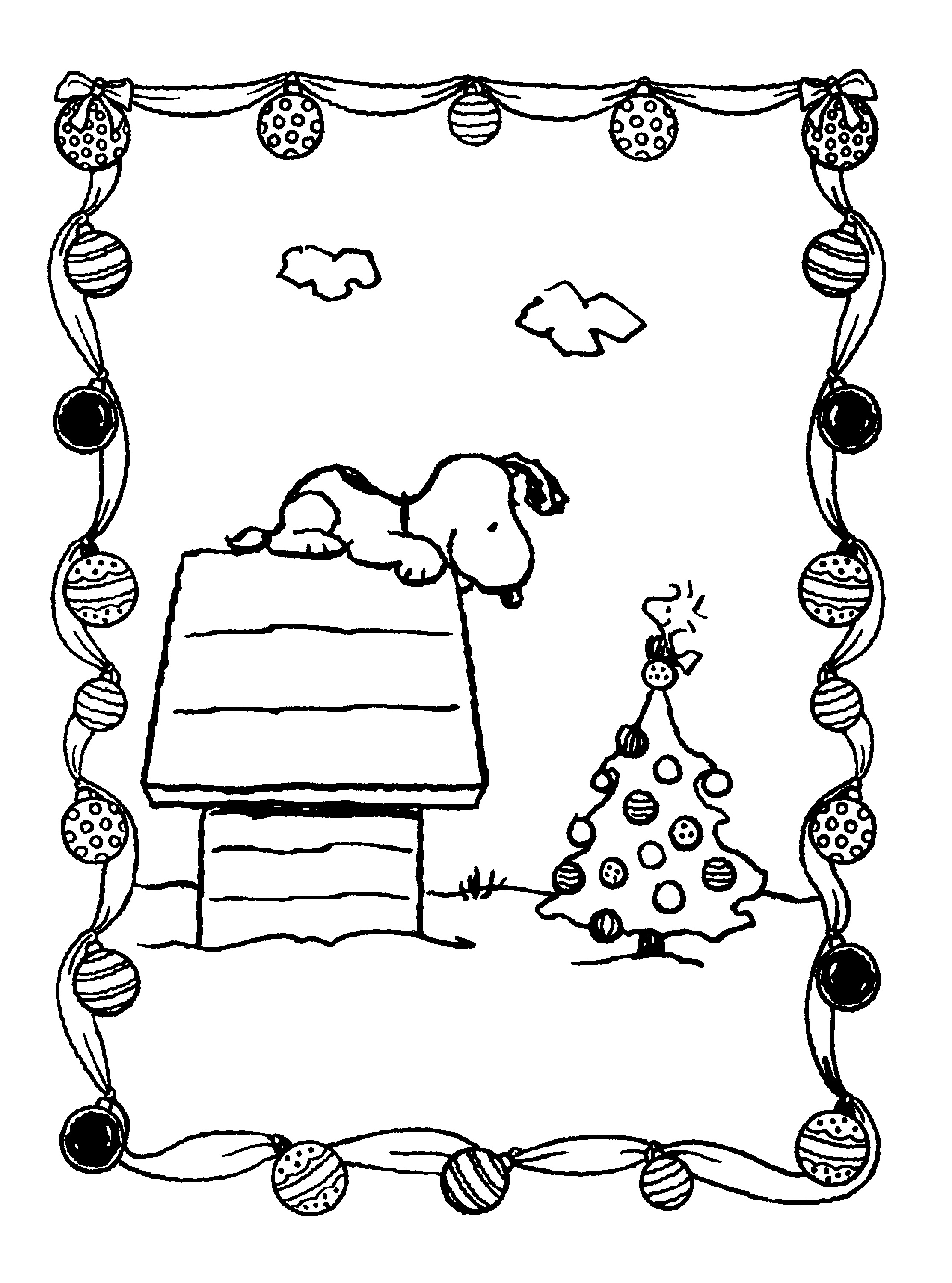 Snoopy Christmas Coloring Pages Woodstock