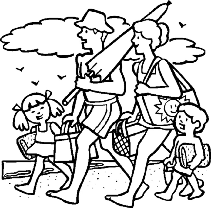 Summer Coloring Sheets Family