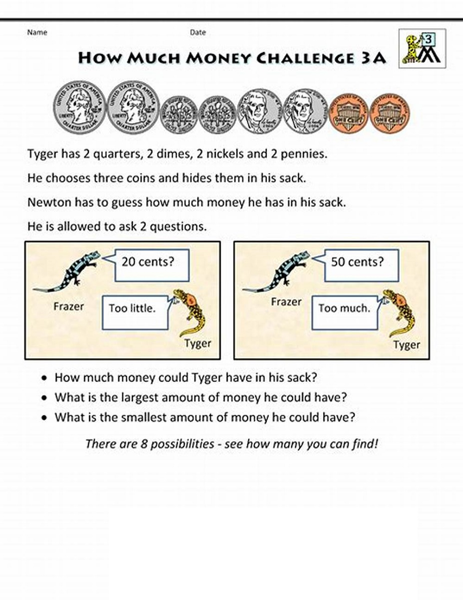 Third Grade Math Worksheets Money