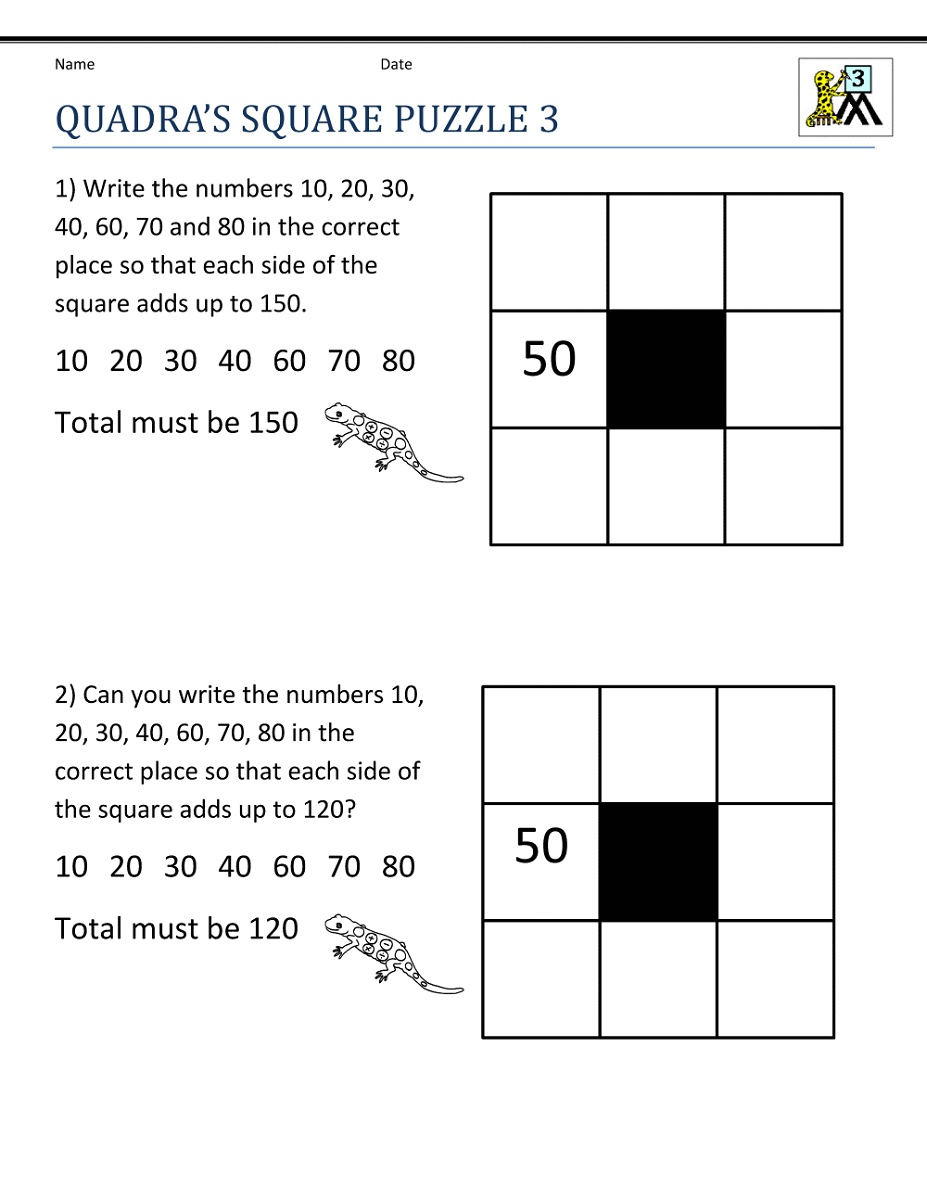 Third Grade Math Worksheets Puzzle