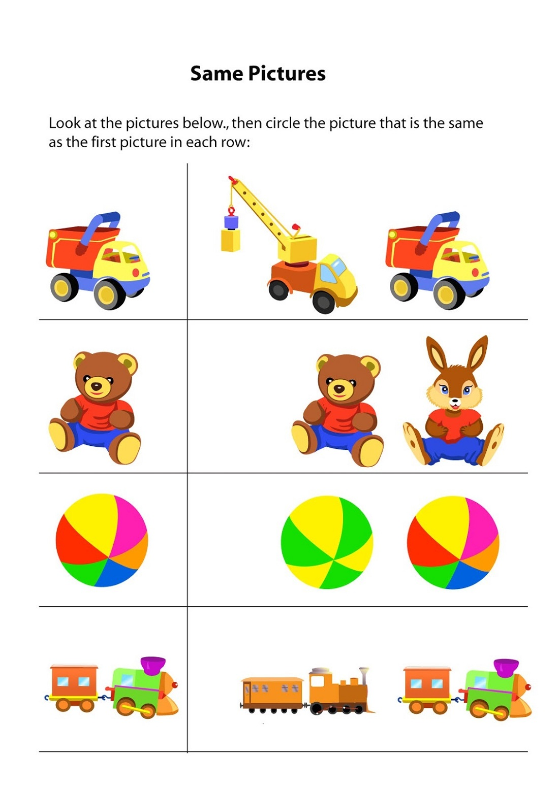 Toddler Activity Worksheets Same And Different