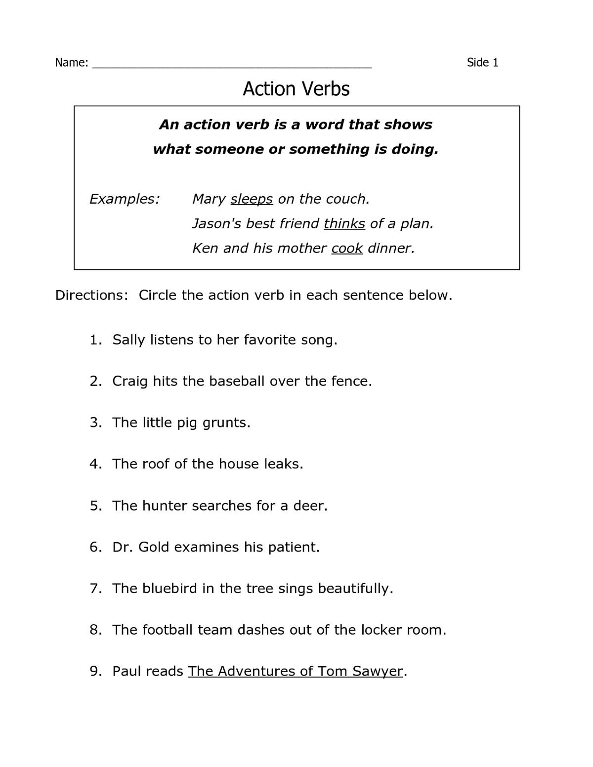 Year 4 English Worksheets Printable Action Verbs