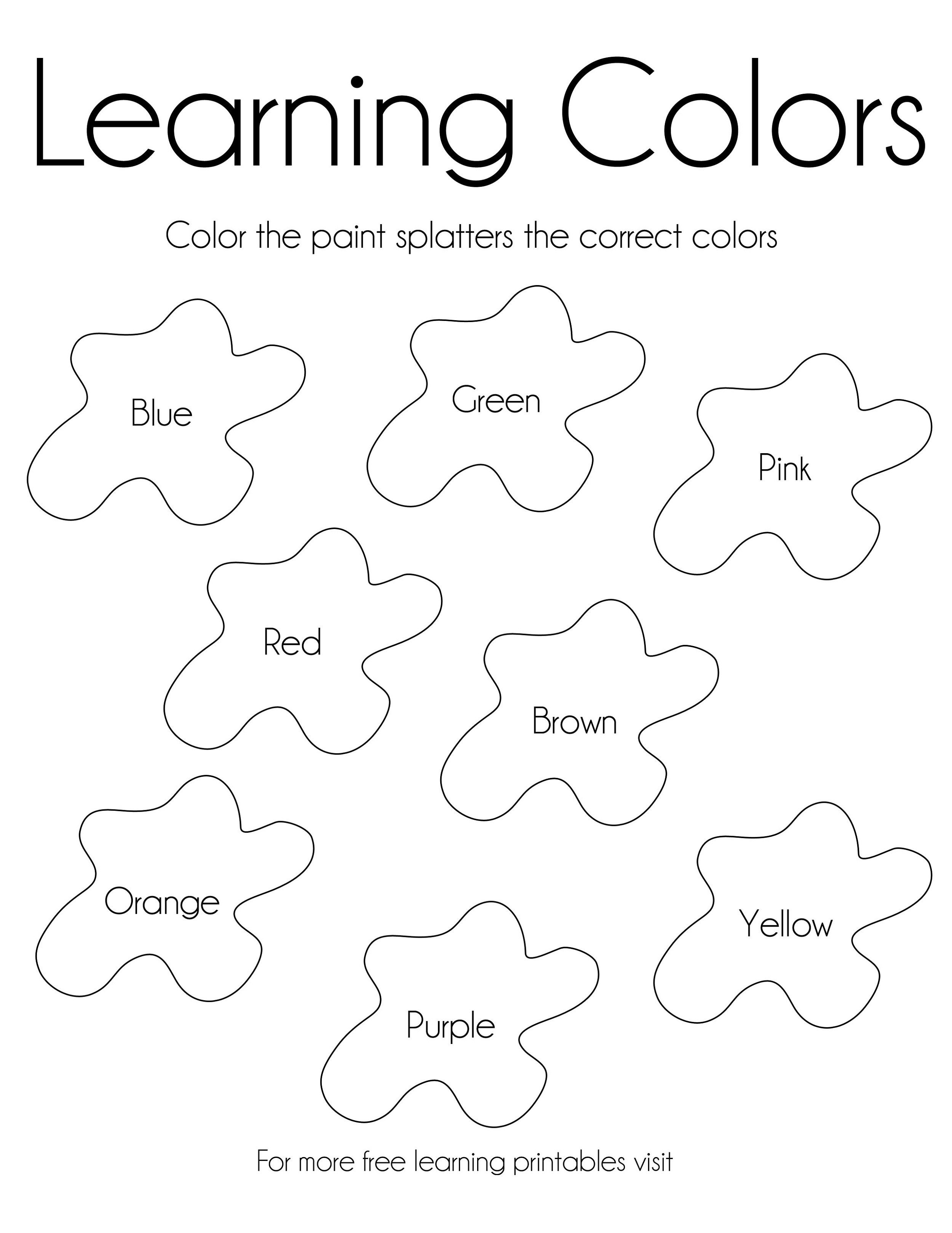 Activity Sheets For 5 Year Olds Colors