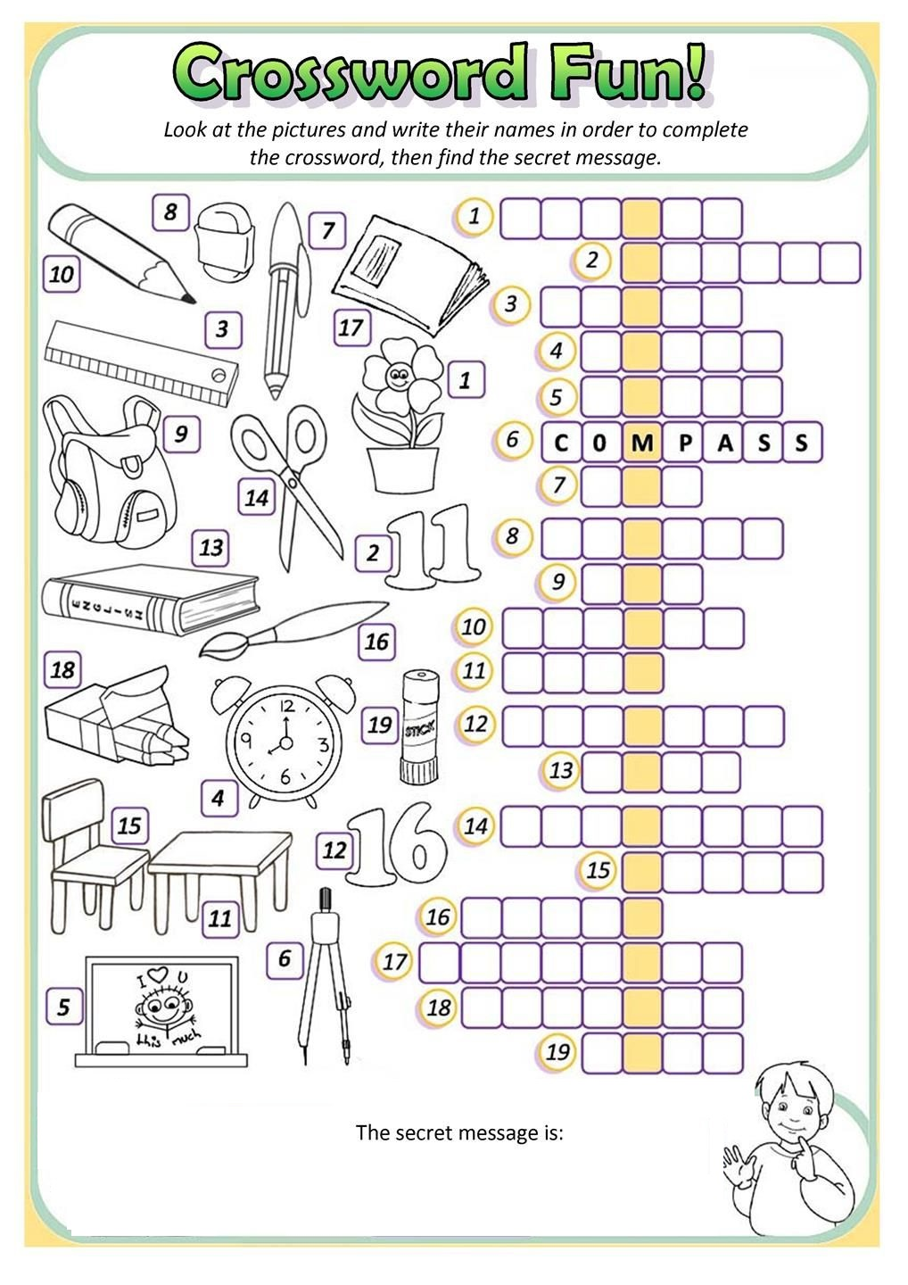 Activity Sheets For Elementary Students Crossword