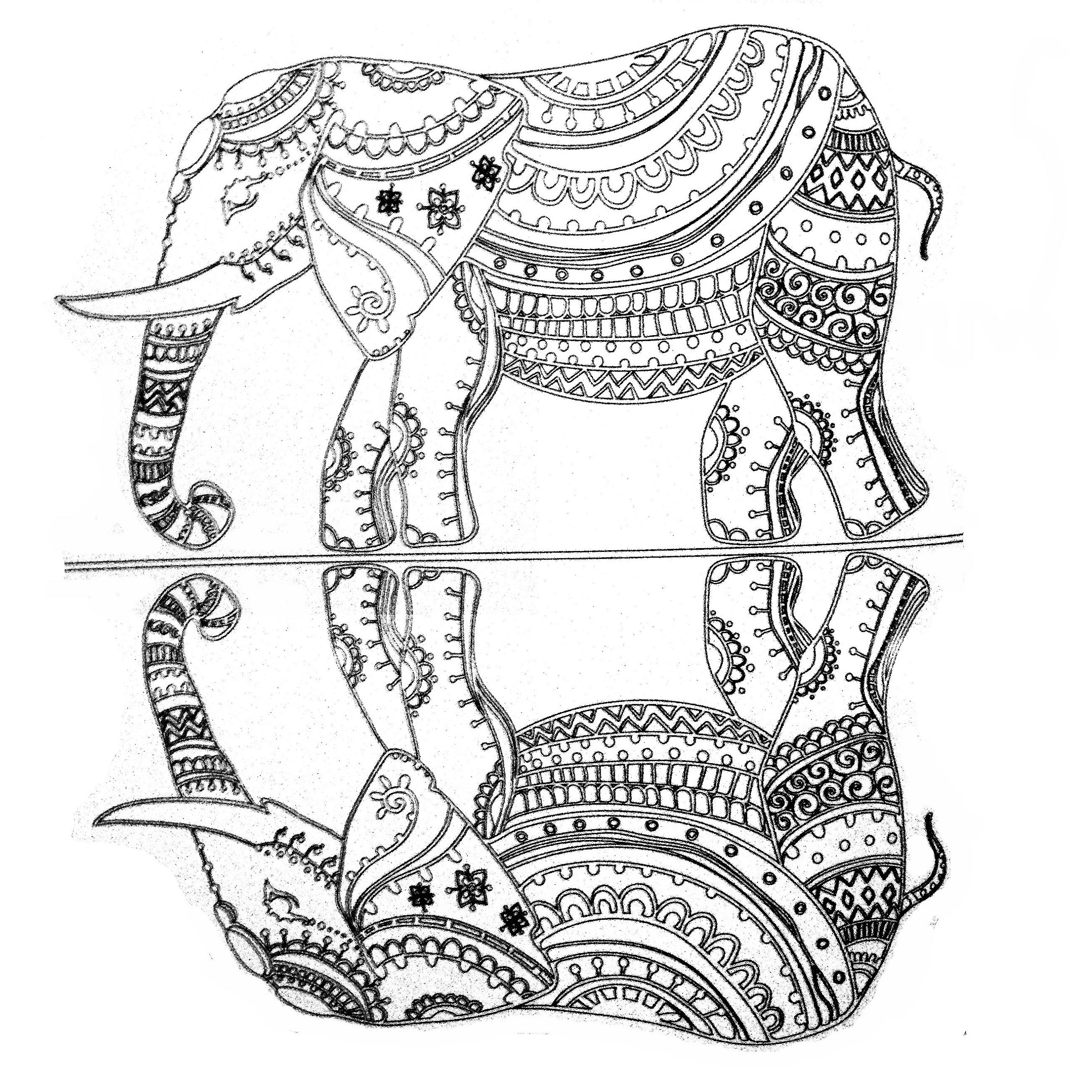 Adult Coloring Pages Elephant Free K5 Worksheets