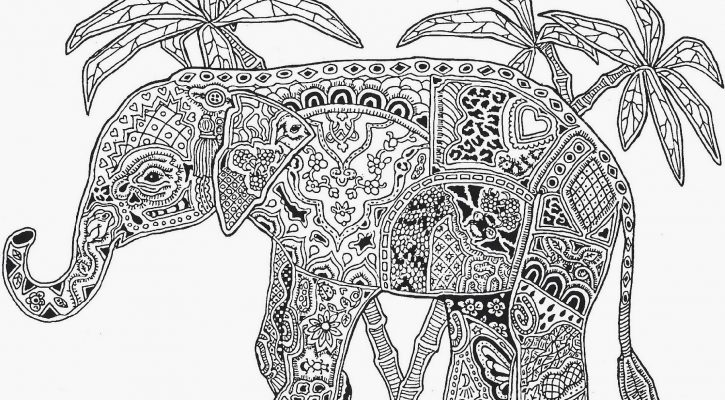 Adult Coloring Pages Elephant Mandala